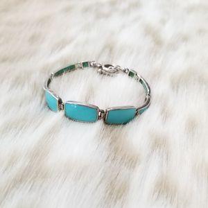 Vintage Southwest .925 Silver Turquoise Bracelet